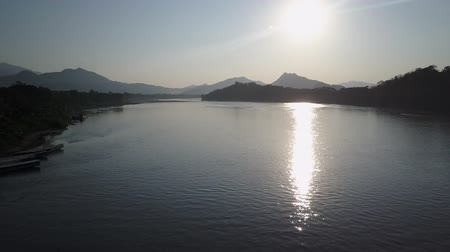 the mekong : Afternoon sunshine over the Mekong River in Laos. Aerial shot. Panorama.