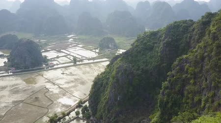 ninh : Karst hills and rice fields viewed from the air on a misty day. Drone shot.