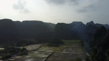 ninh : Vietnamese rice field valley between karst mountain silhouettes. A cloudy sky above. Drone shot. Stock Footage