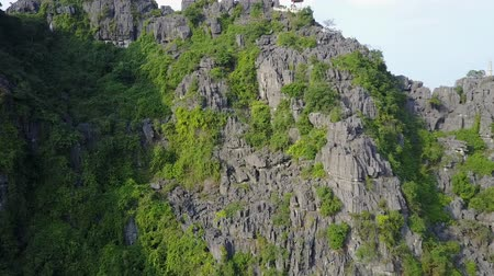 denteado : Flying over the peaks of limestone mountains in Ninh Binh, Vietnam. Drone shot.