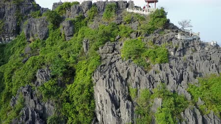 ninh : Limestone mountain close up. Drone flies close into the rocks and plant life on a mountain in Ninh Binh, Vietnam. Drone shot. Close-up. Stock Footage
