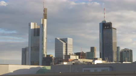 Office towers in Frankfurt, Germany. Establishing shot.