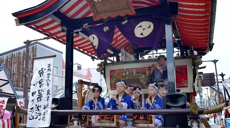 matsuri : Wide shot of a Japanese drum performance celebrating a local festival