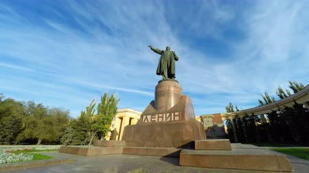 ulyanov : Volgograd, Russia - Circa October, 2016: Monument to Lenin the leader of the socialist revolution in Russia against the sky with a cloud. Ulyanov Vladimir Ilyich. Timelapse.