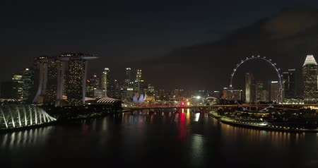長時間露光 : Aerial footage Gliding over the river in Singapore at the Ferris wheel