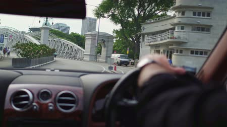 drive : Aerial footage Ride viewing Singapore in car Stock Footage