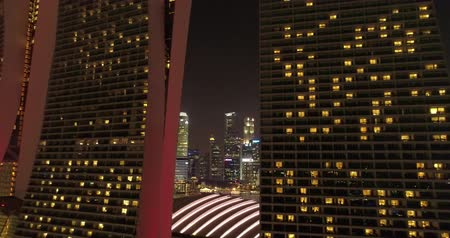Aerial footage Famous building in Singapore at night
