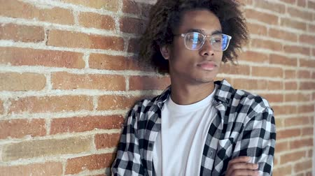 pure : Video of relaxed young african american man looking at camera while leaning on stone wall at home. Archivo de Video