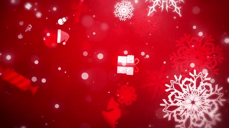gevreği : Flying Christmas Flakes and Gifts, Red, Looped
