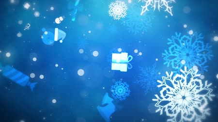 gevreği : Flying Christmas Flakes and Gifts, Blue, Looped Stok Video