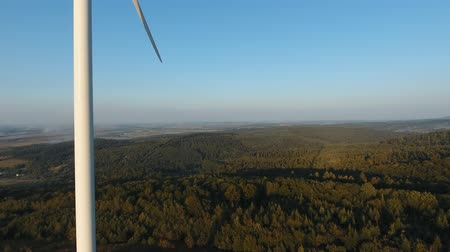 Aerial view of summer countryside with wind turbines 2017, Ukraine