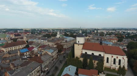 Aerial View - Small City at Sambor, city center, Ukraine Vídeos
