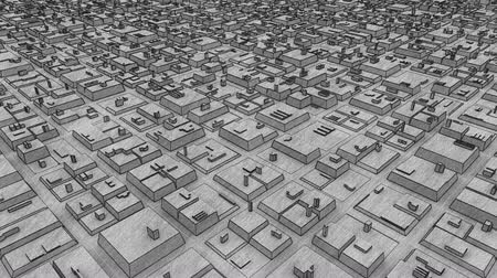 grafite : Urban Futuristic City Of Structure Animation. Pencil graphite drawing evolving loop footage. Vídeos