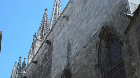 bell tower : tower and wall of an ancient gothic cathedral on a sunny day