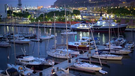 海港 : white yachts in the seaport of Barcelona at night in summer