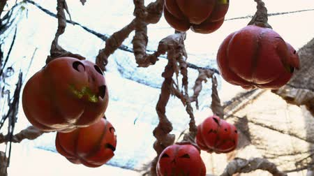 ezilmiş : Halloween street decoration, pumpkin, made from used plastic bottle, plastic bag Stok Video