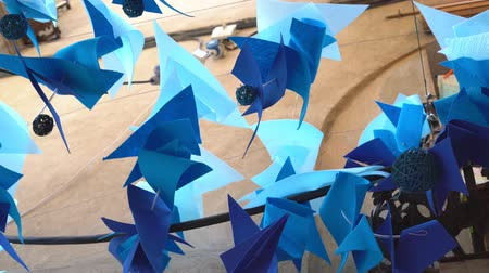 bruk : Street decor made of colorful blue napkins Wideo