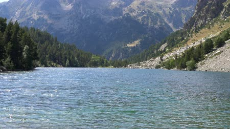 panoramic view of a huge lake high in the mountains with clear water