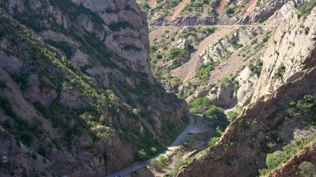 gorge between the mountains with the road. Stock Footage