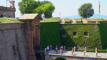 Entrance to the ancient fortress of Montjuic over the bridge