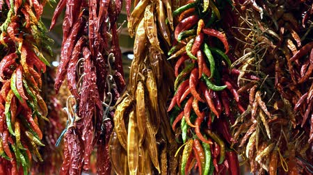 choise : dried peppers on the counter in the market