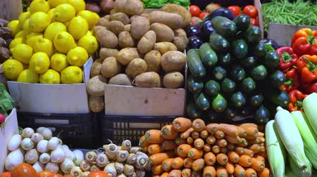 fresh vegetables on a market counter