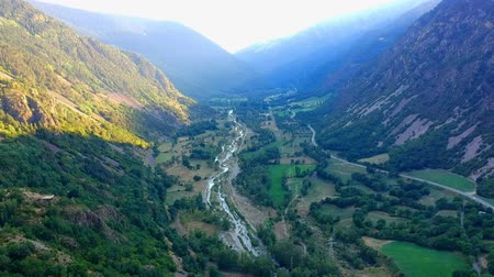 farm in brazil : Valley between the mountains with a mountain river. view from the drone