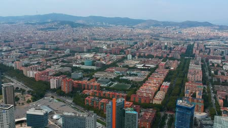 Aerial view of Barcelona city. Panoramic view from drone