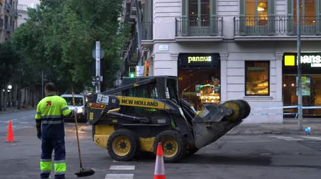 roadwork : special construction equipment, the machine sweeps the asphalt Stock Footage