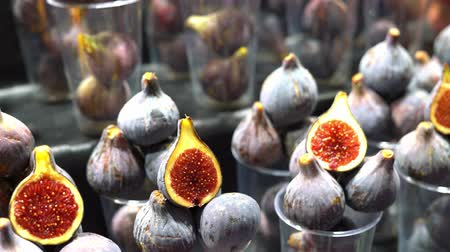 fresh figs on the market. fresh fruit on a farmers market counter