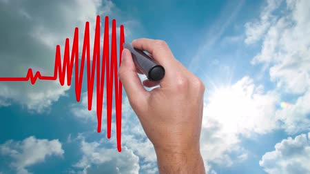 rendes : Businessman hand drawing chart heartbeat - Man Hand writing with marker on sky time lapse. Health concept. Heart in the clouds. Heart Beat in shape of heart. 4k