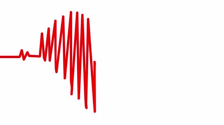 egészségügy és az orvostudomány : Heart Beat in shape of heart. Seamless loop blue background EKG electrocardiogram pulse real waveform. Health concept. 4k
