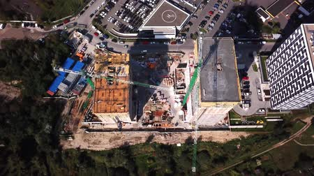 Aerial Drone Shot of Construction Site of Modern residential Building in City Dostupné videozáznamy