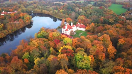 rytíř : AERIAL Flying over the beautiful autumn Forest and Castle. Flight over beautiful castle; located in landscape park with green trees forests in autumn. 4K Aerial View. Dostupné videozáznamy