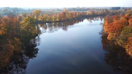 szibéria : Aerial View. Flying over the beautiful autumn River. Aerial camera shot Stock mozgókép
