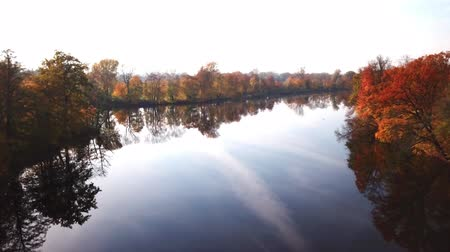Aerial View. Flying over the beautiful autumn River. Aerial camera shot Dostupné videozáznamy