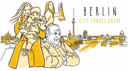 city resident : Berlin Sketch Animation withsome Inhabitants in front of Hand drawn Skylinie. Animated Letters for Sample Title. Stock Footage