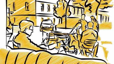 contornos : Cafe Scene Outdoor Travel Blog Sketch Animation. Sketched scene outside of Cafe. Generic European City. Vídeos