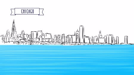 afiş : Chicago Panorama Outline Sketch animation, hand-drawn illustration, animated footage Stok Video