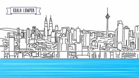 vonalvezetés : Kuala Lumpur panoramic, animated shot, hand Drawn Sketch with Title