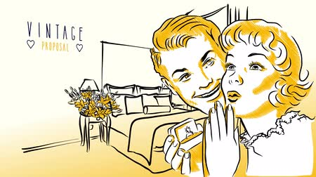 compromisso : Marriage Proposal in Vintage Hotel Room, Hand-drawn animated artwork, Sequence Footage