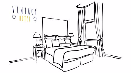 interiér : Animated vector illustration artwork of hotel room interior with bed, with vintage headline and copy Space Dostupné videozáznamy