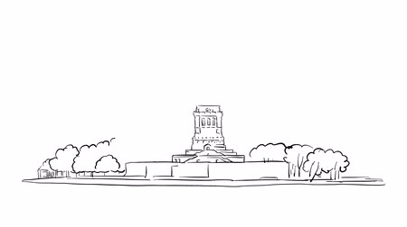 гравюра : Statue of Liberty Sketched timelapse animation on white, Outline Drawing Footage Стоковые видеозаписи