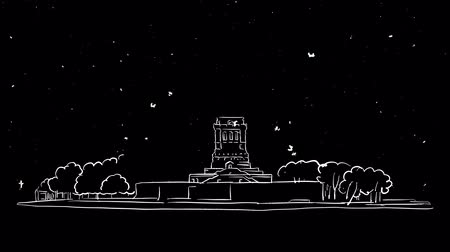 гравюра : Statue of Liberty Sketched timelapse animation on black, Outline Drawing Footage Стоковые видеозаписи