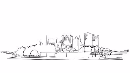 ołówek : Liberty Statue and New York skyline timelapse animation on White Sketched Outline Drawing Footage Wideo