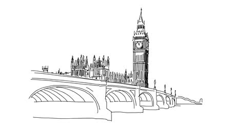 great story : Westminster and Big Ben, Sketched Motion Sequence, 5 seconds buildup and teardown 5 sec