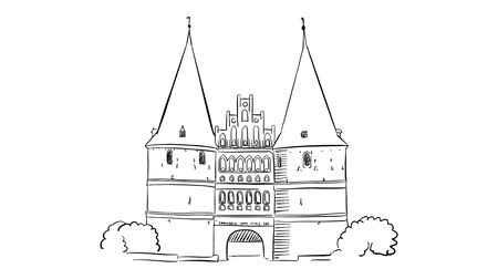 lubeck : Holstentor Lubeck, Sketched Motion Sequence, 5 seconds buildup and teardown 5 sec