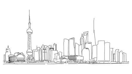 citylandscape : Shanghai skyline finance district, Sketched Motion Sequence, 5 seconds buildup and teardown 5 sec