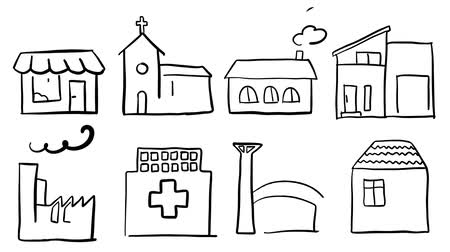 majorság : Various house types, almost sketch animation. hand drawn outline icons. black pen on white ground. 5 seconds buildup and teardown 5 seconds motion sequence. Stock mozgókép