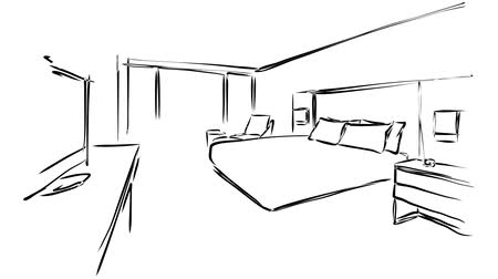 film şeridi : Hotel Room Interior animation sequence. Hand Drawn Sketched outline. teardown 5 seconds buildup and 5 seconds.